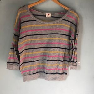 Gray pink and yellow striped sweater